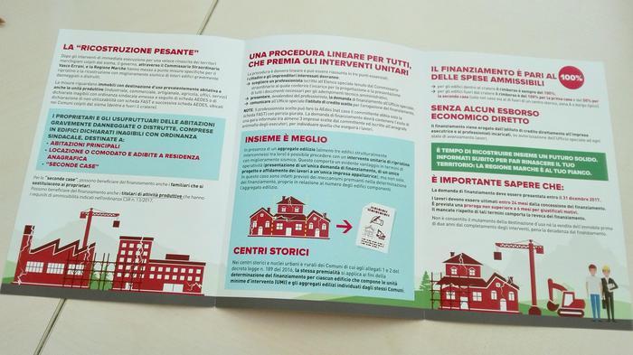(ANSA) - ANCONA, 17 MAG - Terremoto: brochure campagna comunicazione su ricostruzione pesante.