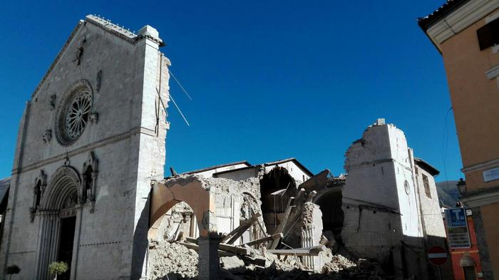 The Basilica of San Benedetto destroyed after the strong earthquake in central Italy, Norcia, Umbria Region, 30 October 2016. ANSA/MATTEO GUIDELLI